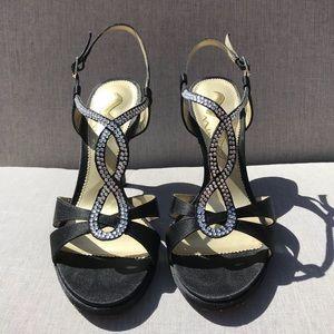 Black Rhinestone Sandals Nina